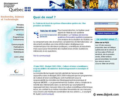 28f01cb5ef6 Design du site internet du ministère de Recherche science et technologie du  Québec